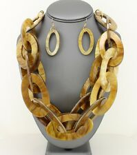 Large Double Oval Link Chain Brown Celluloid Tortoise Necklace Earring Statement