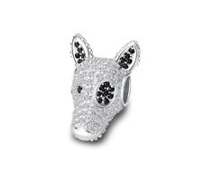 Bull Terrier Rhinestone Charm Sterling Silver