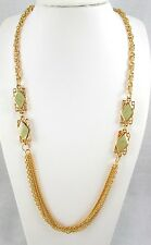 Gold Tone Long Chains 2 Lt Green Swirled Enamel Stations Fashion Necklace  #145