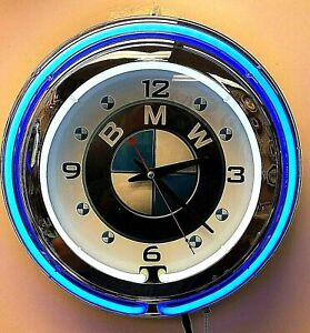 "15"" BMW Sign Double Neon Clock"
