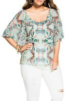 City Chic Women's Top XL Ivory Casablanca Short Sleeve Extra Large Plus Size NEW