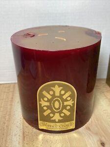 "VTG Pier 1 Exclusive Colonade Cranberry Balsam Wax Pillar Candle 3 Wick 6"" NOS"