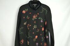 Sarah Spencer Sweater Coat XL Black Floral  Embroidered Wool Coatigan Dress