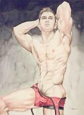 boy, homme nu, watercolor print nude male in red singlet