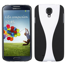 Samsung Galaxy S4 S IV Rubberized Slim Fit HARD Case Cover Black White Wave