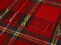 Pure new wool tartan sofa throw rug picnic blanket by BRONTE - ROYAL STEWART