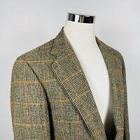 Polo University Club x Ralph Lauren 42R Coat Blue Gold Plaid Wool Two Button