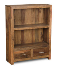 LIVING ROOM FURNITURE CUBE NATURAL SHEESHAM 2 DRAWER BOOKCASE (C31N)