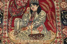 Pre1900 Antique Minatory Lavar Kirman Collectible Poetry Rug Vegetable Dye 2'x3'
