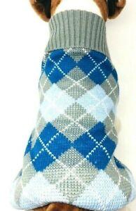 "Dog Puppy Knitted Sweater Winter Warm - Blue Gray Argyle - 16.5-19.5"" Chest"