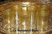 Gold Moroccan tea glasses - Moroccan tea glasses gold- Clear glasses with gold