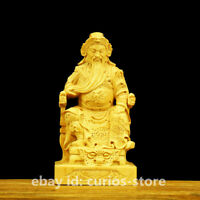 "4.5"" Chinese Box-wood Hand-carving Dragon Warrior Guan Gong Yu Wealth God Statue"