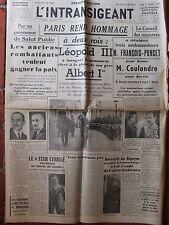 L'Intransigeant (13/10/1938) Paris rend hommage - Gouvernement de Salut Public