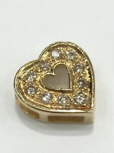 18ct 18k Yellow Gold Diamond Heart Pendant. Brand New