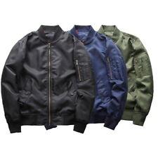 Mens Stylish Bomber Jacket Military Flight Pilot Jacket College Coat Outerwear