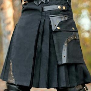 Vintage Men Warrior PU Cargo Gothic Steampunk Kilt Patchwork Pocket S-5XL