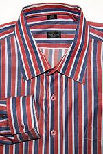 Paul Smith London Men's 17 1/2 Designer Dress Shirt Red Blue Striped 100% Cotton