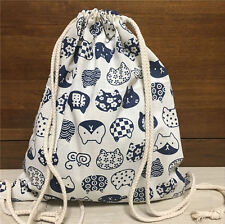 Cotton Linen Drawstring Travel Backpack Student Book Shose Bag Blue Cat 26a F
