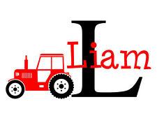 Boys Tractor Name Monogram Decal #2 Nursery Room Vinyl Wall Decal Graphics Boys
