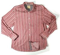 Tommy Bahama Mens L Long Sleeve Button Down Cotton Shirt Striped Red