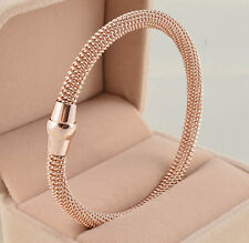 Rose Gold Stainless Steel cable Mesh Net Chain Bracelet Magnetic Clasp women