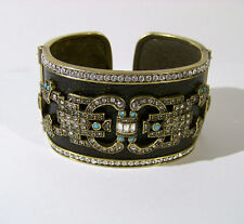 Heidi Daus Crystal & Black Faux Lizard Wide Hinged Cuff Bracelet