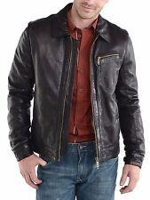 Men's Leather Jacket Biker Motorcycle Coat Black Slim Fit Outwear Jackets - 18