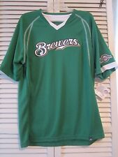 MILWAUKEE BREWERS MENS GREEN PULL OVER V-NECK GREEN SHORT SLEEVE SHIRT SIZE L
