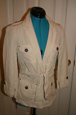 CARTONNIER Anthropologie CREME Safari COTTON Linen NEPAL JACKET Sz 6 Small $118