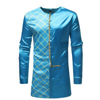 Men Dashiki Print Succinct Hippie Top Blouse Casual Shirts African Tribal Shirt