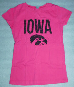 Next Level Hot Pink University Iowa Hawkeyes Youth T-Shirt L 10/12 Herky Hawk