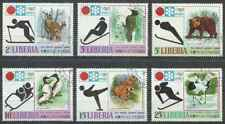 Timbres Animaux Sports d'hiver JO Libéria 548/53 o lot 29188