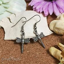 Er2686 Graceful Garden Antique Silver Tone Little Dragonfly Charm Earringssss