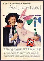 "1958 Seven-Up 7-Up Bottle photo ""Halloween Costume Theme"" vintage print ad"