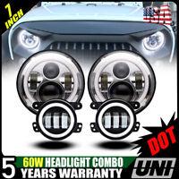 """7"""" inch LED Headlight Halo +4"""" inch Fog Lamp Kit For 07-17 Jeep Wrangler JK"""