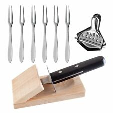 OGGI 9pc Oyster Prep Set - Knife, Shucking Block, Forks & Lemon Squeezer