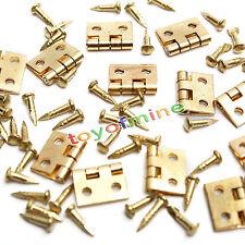 20pcs Mini Bisagras de metal con clavos para 1/12 miniatura casa de muñecas