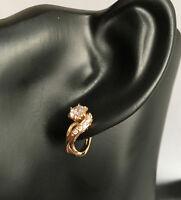 Luxus Ohrringe Creolen Hänger Zirkonia 750er Rosegold 18 Karat vergoldet Neu!