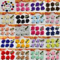 NEW 100pcs Satin Ribbon Carnation Flower Appliques/Craft/Wedding Decorate DIY