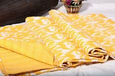 Yellow First Ikat kantha throw Twin size quilt kantha bedding bedspread Cotton