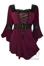 Gothic RENAISSANCE Stretch Corset Style Top BURGUNDY RED Sizes 10/12 to 26/28