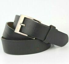 "Black Leather Belt Gunmetal Buckle Fits  34""-39"" Waist"