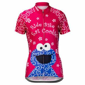 Cookie Monster Sesame Street Women's Cycling Jersey Pink Pro Clothing Shirt Gear