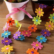 1 Yard Flower Embroidered Lace Trim Applique Ribbon Hairband Sewing Craft DIY