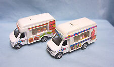 "Toys: Pair Diecast Fast Food Truck & Ice Cream Truck 5"" Pull/Back Action"