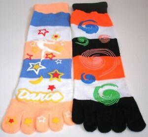 New 2 Pair's Yelete Women's Stripe With Pattern Novelty Funky Toe Socks SZ 9-11