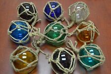 "8 Pcs Reproduction Glass Float Ball With Fishing Net 4"" *Pick Your Colors*"