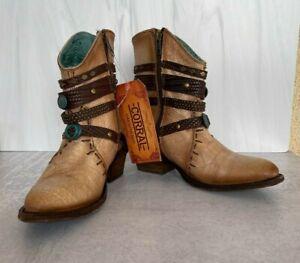 Corral Western Boot Women Harness Studs Round Ankle Zip 7 M Bone C3195
