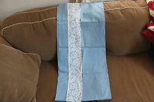 Blue and lace curtain valance panel