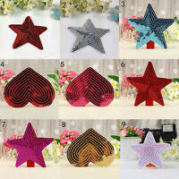 sequins heart motif iron/sew on embroidered patch Cloth badge applique diy ^